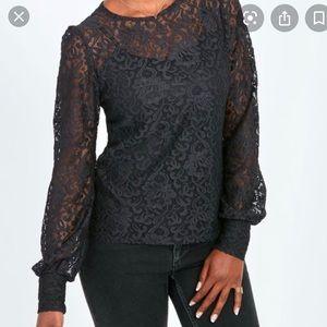 Stella & Dot Juliana Black Lace Top Blouse